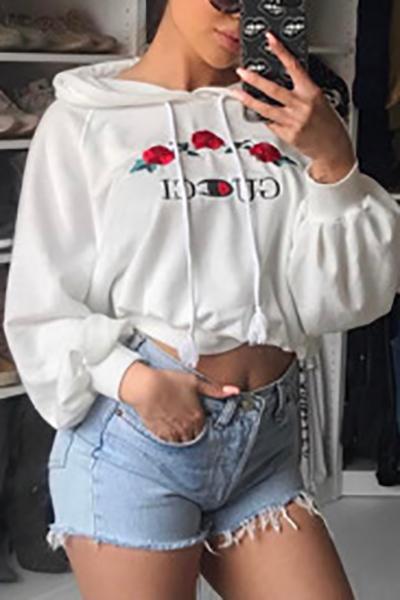 Leisure Long Sleeves White Knitting Hoodies