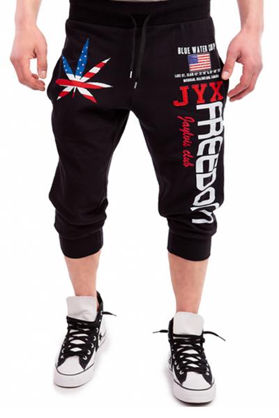 Leisure Cintura Elástica Impreso Algodón Negro Mezcla Pantalones