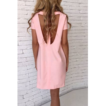 Sexy Round Neck Short Sleeves Hollow-out Pink Chiffon Mini Dress