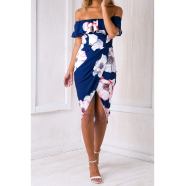 Polyester Fashion Bateau Neck Off The Shoulder Short Sleeve Sheath Mid Calf Dresses (Non Positioning Printing)