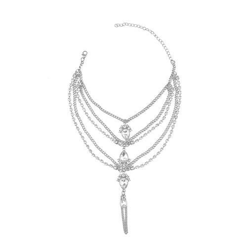 Fashion Rhinestone Decorative Silver Metal Body Chain(Only Sell A)