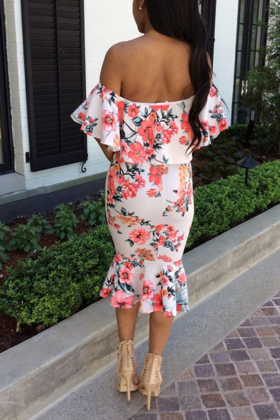 Euramerican manches courtes Imprimé Backless White Polyester Gaine Mid Calf Dress (Non Positioning Printing)