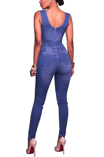 Stylish V Neck Hollow-out Blue Denim One-piece Skinny Jumpsuits