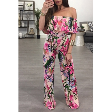 Euramerican Dew Shoulder Printed Milk Fiber One-piece Jumpsuits