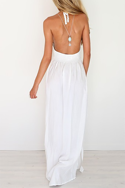 Sexy V Neck Backless White Chiffon Ankle Length Dress