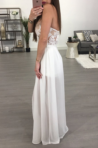 Sexy See-Through Backless White Chiffon One-piece Jumpsuits