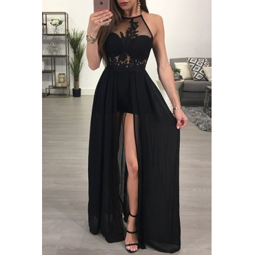 Sexy See-Through Backless Black Chiffon One-piece Jumpsuits