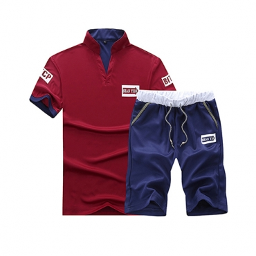 Leisure Short Sleeves Patchwork Red-blue Cotton Blends Two-piece Shorts Set
