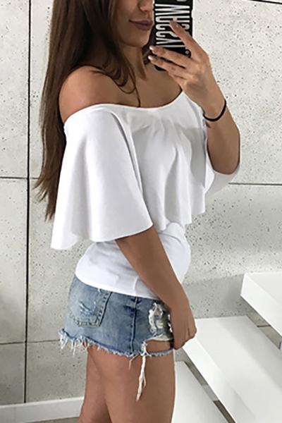 Elegante Dew hombro falbala diseño blanco algodón camisas