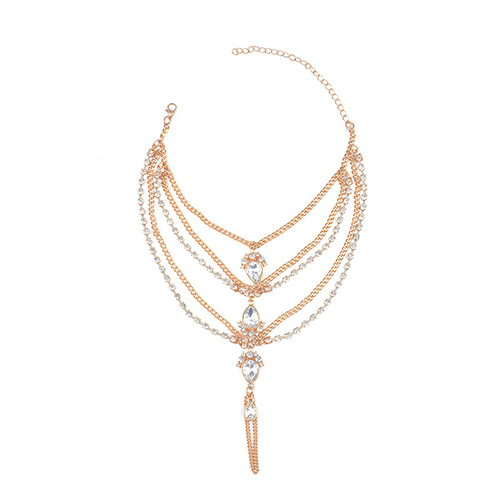 Fashion Rhinestone Decorative Gold Metal Body Chain (Only Sell A)