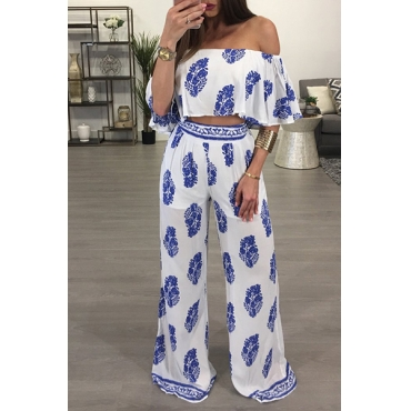 Stylish Dew Shoulder Printed White Milk Fiber Two-piece Pants Set(Non Positioning Printing)
