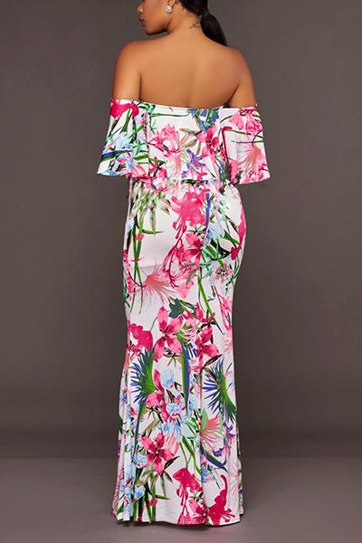 Sexy Dew Shoulder Printed White Milk Fiber Ankle Length Dress