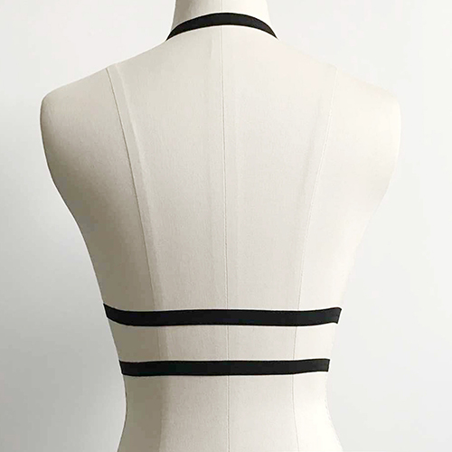 Fashion Hollow-out Black Fabric Body Chain