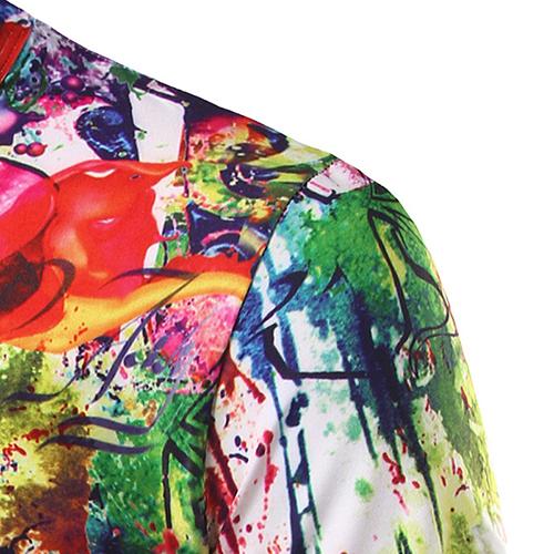 Casual cuello redondo manga corta impresa mezcla de algodón camiseta