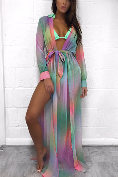 Euramerican V Neck Long Sleeves Printed See-Through Polyester Cover-Ups (With Belt)