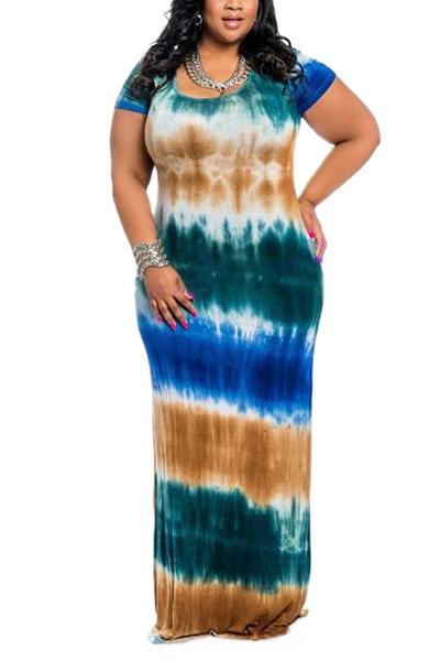 Euramerican Round Neck Short Sleeves Tie-dye Green Milk Fiber Floor Length Dress - $11.49