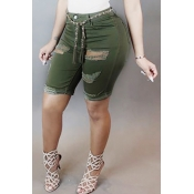 Trendy High Waist Broken Holes Green Denim Skinny