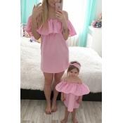 Stylish Dew Shoulder Falbala Design Pink Chiffon M