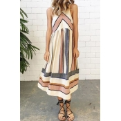 Polyester Casual O neck Tank Sleeveless A Line Mid Calf Dresses