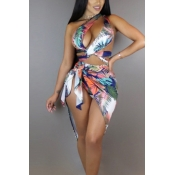 Sexy Printed Hollow-out White Milk Fiber Two-piece Swimwear(With Scarf)