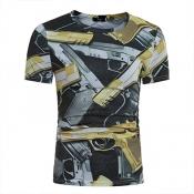 Leisure Round Neck Short Sleeves Pistol Printing B