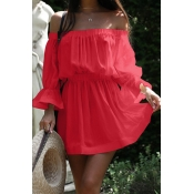 Euramerican Dew Shoulder Half Sleeves Red Cotton Blend Mini Dress