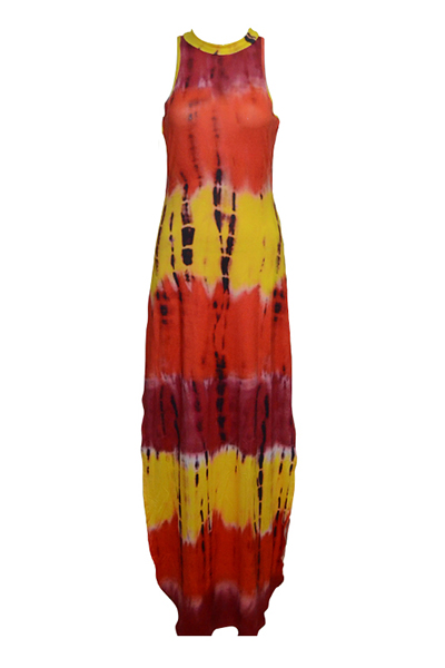 Trendy Round Neck Sleeveless Printed Side Split Red Qmilch Sheath Ankle Length Dress