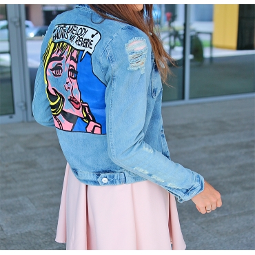 Stylish Turndown Collar Long Sleeves Cartoon Printed Blue Denim Coat