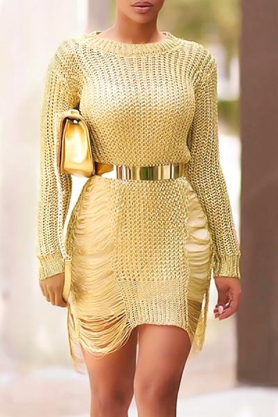Sexy cuello redondo mangas largas hueco a cabo de poliéster mini vestido de oro (sin cinturón)