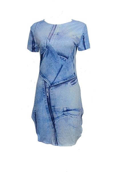 Casual Round Neck Short Sleeves Asymmetrical Blue Polyester Sheath Mini Dress