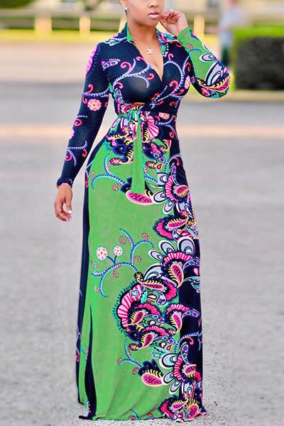 Euramerican V Шеи С Длинным Рукавом Цветочный Принт Хлопок Длина Пола Платье