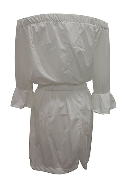 Euramerican Dew Shoulder Half Sleeves White Cotton Blend Mini Dress
