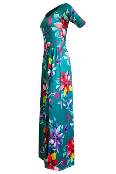 Stylish Dew Shoulder Half Sleeves Floral Print Green Milk Fiber Floor length Dress