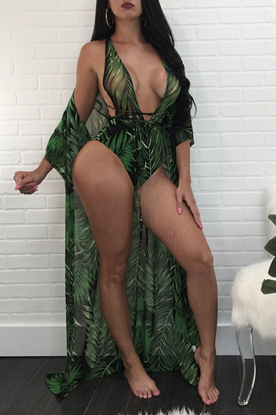 Costumi Da Bagno A Due Pezzi In Poliestere Verde Scuro Sciancrato Con Stampa Sexy (con Scialle)