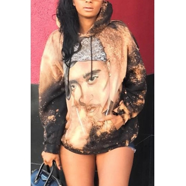 Euramerican Hooded Collar Long Sleeves Printed Gold Polyester Hoodies