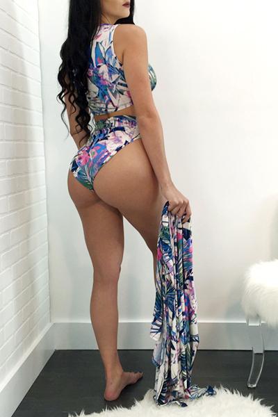 Sexy Printed Milk Fiber Two-piece Swimwear (With Shawl)