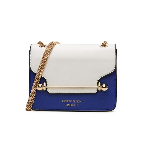 Fashion Patchwork White-blue PU Crossbody Bag