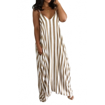 Stylish V Neck Sleeveless Striped Blending Ankle Length Dress