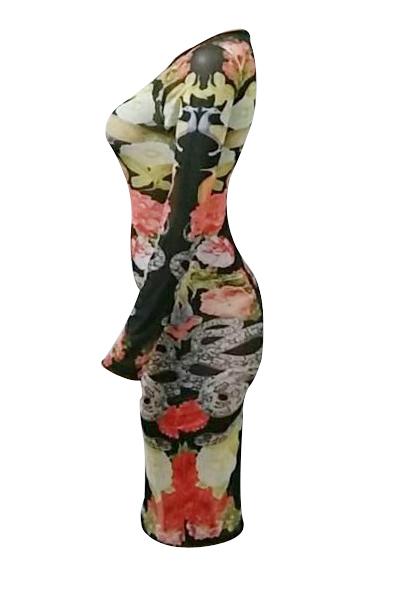 Manga comprida de pescoço redondo com impressão impressa-Através de bainha de poliéster vestido de comprimento do joelho