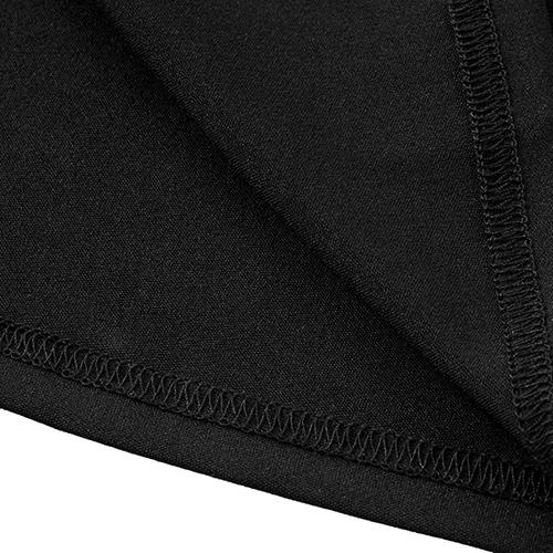Vestito senza bretelle sexy del collo di V del Vestito lungo del ginocchio del tessuto del nero del nero di disegno