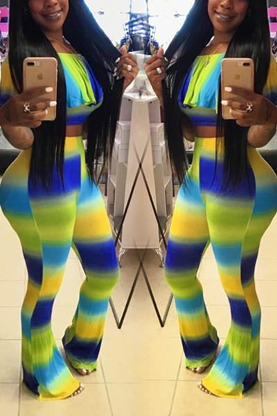Leisure Dew Shoulder Printed Blending Two-piece Pants Set