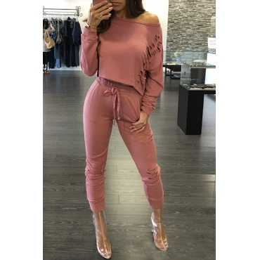 Leisure Round Neck Long Sleeves Broken Holes Pink Polyester Two-piece Pants Set