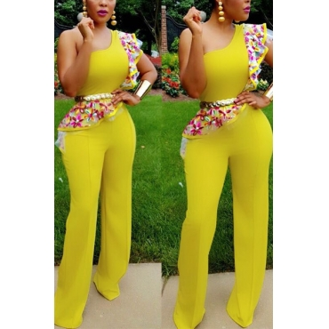 Stylish Printed Asymmetrical Yellow Healthy Fabric One-piece Jumpsuits(Without Belt)