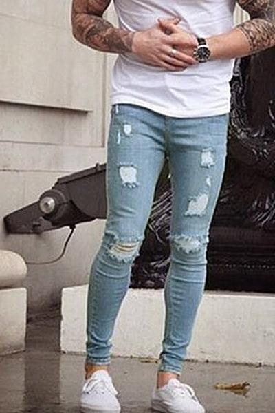 Stylish Mid Waist Broken Holes Cotton Pants