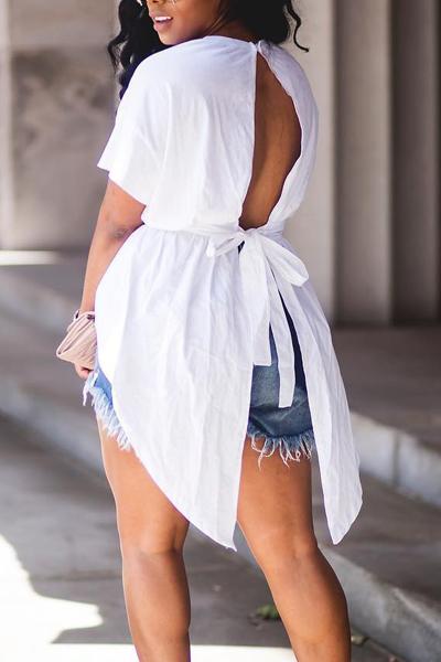 Freizeit Rundhals Kurzarm Backless Weiß Baumwolle Hemden