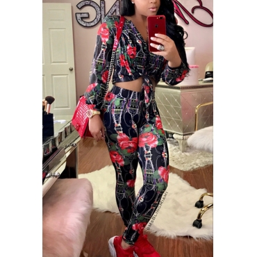 Stylish V Neck Long Sleeves Printed Black Venetian Two-piece Pants Set