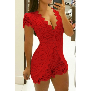 Stylish V Neck Lace Trim Patchwork Red One-piece Jumpsuits