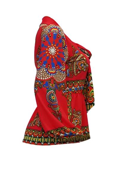 Ethnic Style Mandarin Collar Long Sleeves Totem Printed Red Milk Fiber Shirts