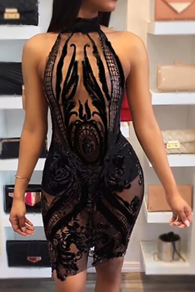 Sexy Round Neck Sequined Decorative Black Polyester Sheath Knee Length Dress