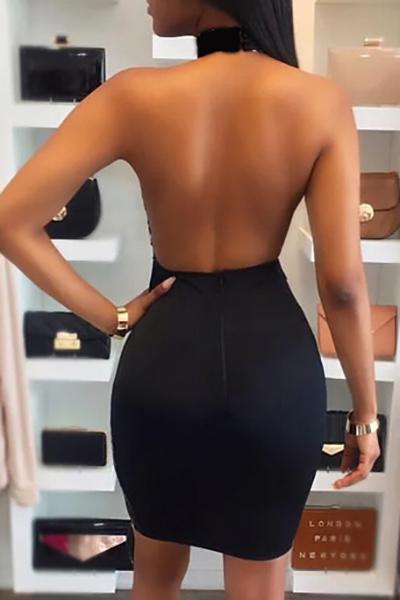 Vestito lungo a ginocchio del fodero in poliestere nero decorativo sequenziale sexy (senza rivestimento)